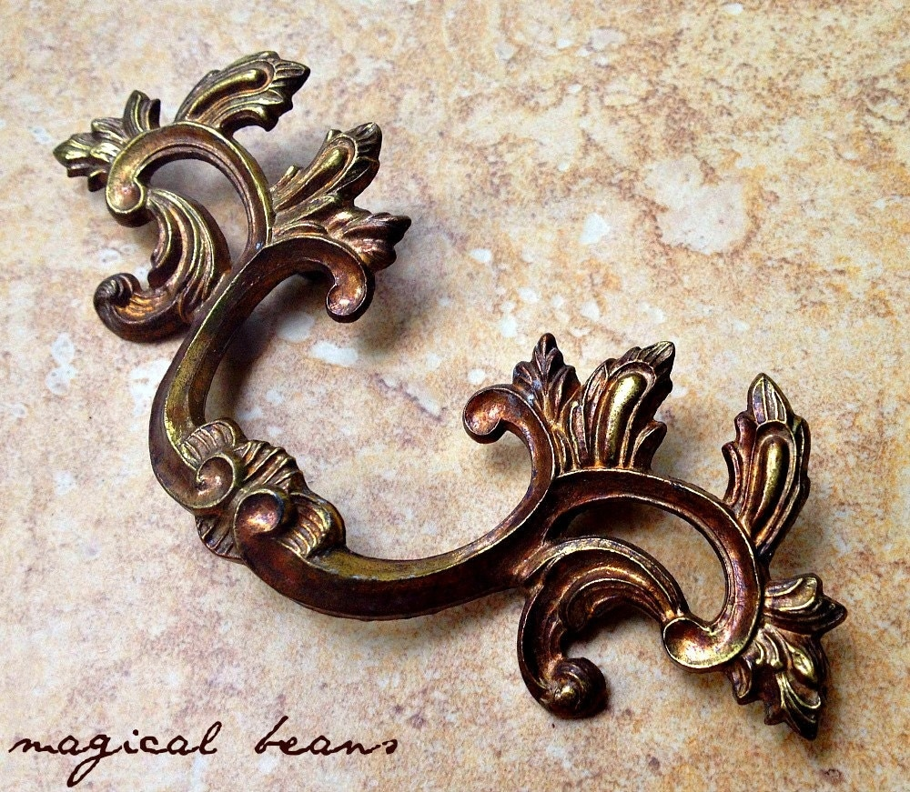 French Provincial Brass Drawer Pulls 6 Quot Kbc Vintage Drawer