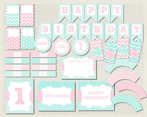 Aqua and Pink Printable Party Package Pink First Birthday 1st Birthday Party Package Pack PDF Pink Aqua Instant Download (59)