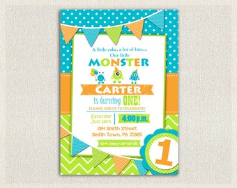 Monster 1st Birthday Invitation Boys  / Orange Green Blue 1st 2nd 3rd Birthday Invites / Printable Invitation / Monster Party