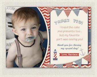 Nautical Thank You Card / Printable Download / Birthday Thank You Note / Nautical Boys Birthday (102)