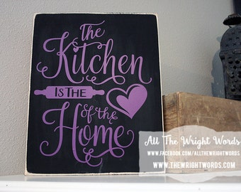 """12x14"""" The Kitchen Is The Heart Of The Home Wood Sign - Kitchen Decor - Home - Home Decor - Food - Family - Friends - Gathering - Party"""