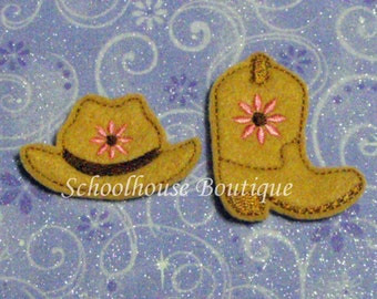 Cowboy Hat and Boot with Flower felties, feltie, machine embroidered, felt applique, felt embellishment, hair bow supplies, planner clip