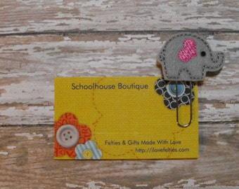 Gray and Pink Elephant felt paperclip bookmark, felt bookmark, paperclip bookmark, feltie paperclip, christmas gift, teacher gift