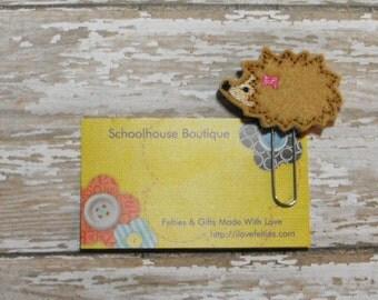 Hedgehog felt paperclip bookmark, planner feltie, planner clip, felt bookmark, feltie paperclip, christmas gift, teacher gift