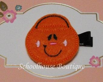 Pumpkin Trick or Treat Bucket Felt Hair Clips with your choice of ribbon color,Felties,Feltie Hair Clip,Felt Hairbow,Felt Hair Clippie