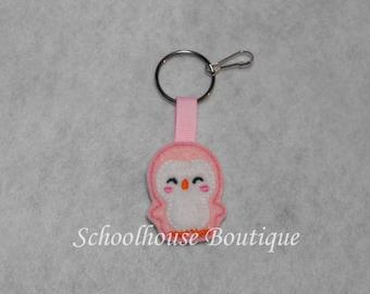 Pink or Blue Penguin Felt Zipper Pull, Felt Keychain Fob, Felt Key Ring, Felt Key Fob, Purse Accessory, Luggage Tag