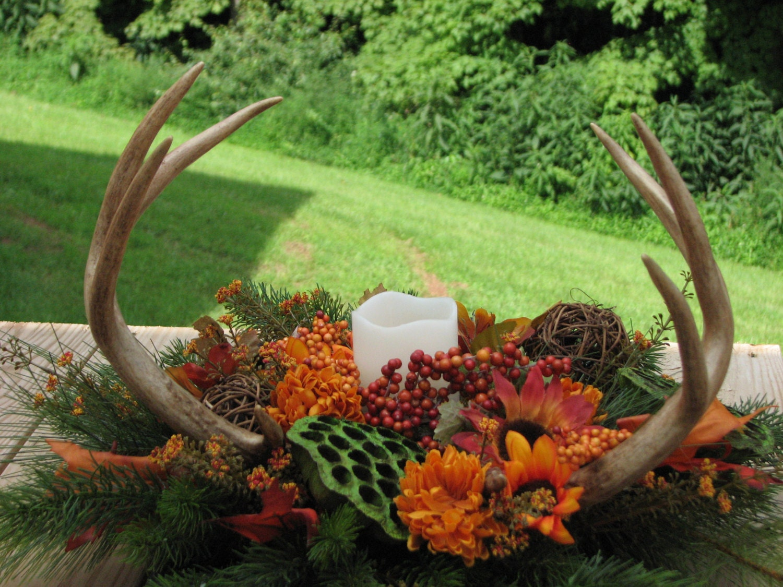Real Deer Antler Silk Flower Arrangement For Camo Wedding Man