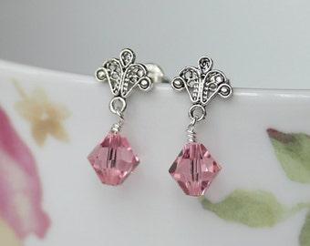 Filigree Earrings, Crystal Drop Earrings, Handmade Earrings, Pink Crystal Earrings, Green Crystal Earrings, Lilac Crystal Earrings