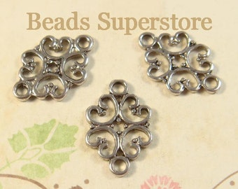 SALE 18 mm x 13 mm Antique Silver Two Sided Flower Link / Connector - Nickel Free, Lead Free and Cadmium Free - 10 pcs (LR38)