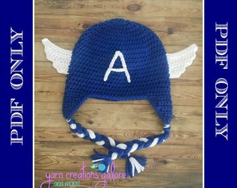 Crochet Captain America Hat Pattern ** PDF File ONLY*** Instant Download