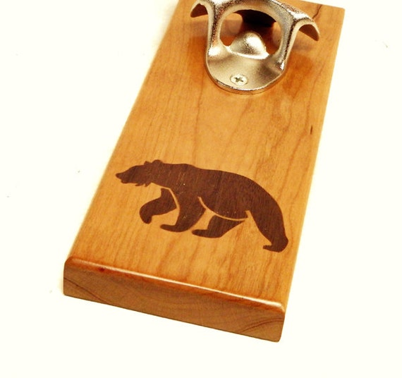 bottle opener magnetic cap catcher walnut bear inlay cabin. Black Bedroom Furniture Sets. Home Design Ideas