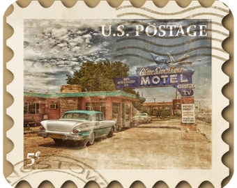 Mousepad-thick mouse pad-Vintage Postage Stamp Rt. 66 Motel - Free Shipping