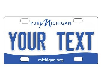 Custom, personalized state license plate - Michigan 2013 - Add Any Text - free shipping