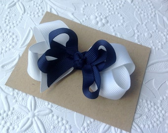 Navy bow, layered navy and white boutique bow hair clip, Girls bow. Uniform bow. Back to school hair bow. Navy bow for girls, Navy baby bow