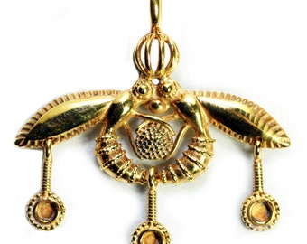 MINOAN BEE PENDANT sacred temple Reproduction Gold Bees in Ancient Crete Greece Sterling or Bronze
