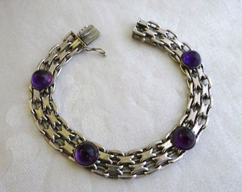 Sterling Chain Maile Silver and Amethyst Bracelet, European, Stamped, Locking Clasp, Rennaisance