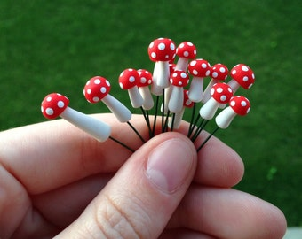 Tiny Red Spotted Mushroom -- Decoration for Terrariums or Fairy Gardens