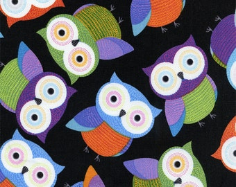 Patchwork Quilting Fabric Timeless Treasures Foxy Owl Fun-C1478-Black