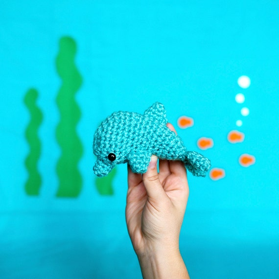 Amigurumi Dolphin Figurine by HappyGuppyToys on Etsy