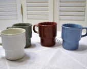 Vintage Stacking Mug Set of 4 Blue Gray White Red Japan Panchosporch