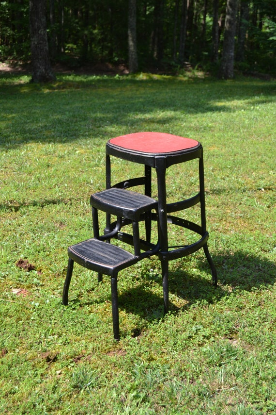 Vintage Cosco Metal Step Stool Chair Black Red By PanchosPorch