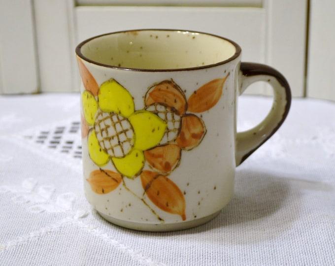 Vintage Coffee Mug Cup 1970s Orange Yellow Flower Design Japan PanchosPorch