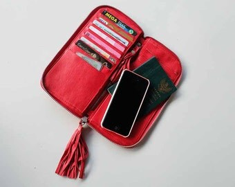 Red Leather Wallet / All-in-One Large Leather Wallet