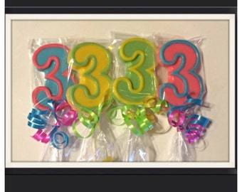 Number 1, number 2, number 3 (4,5,6) chocolate lollipops -birthday and age number pops