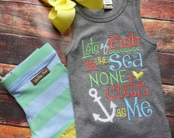Lots of fish is the sea embroidered tank. Made to match matilda jane kazoo shorties