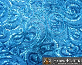 """Sequin Fabric Breeze AQUA BLUE / 52"""" Wide / Sold by the Yard"""