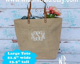 Monogrammed Natural Jute Burlap Tote Bag - Large - Bridal party or Bridesmaid's Gift - Beach Bag - Teacher - Sorority - Boat Tote