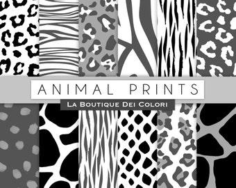 Black and White Animal prints digital paper. Safari Scrapbook. tiger skin, leopard dots, zebra stripes background. Commercial use clipart