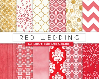 Red Wedding digital paper, Gold patterns for wedding invite, save the date cards, scrapbooking  Commercial Use floral, lace