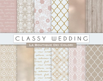 Classy wedding digital paper, Bridal patterns for wedding invite, save the date cards, scrapbooking  Commercial Use floral, lace.
