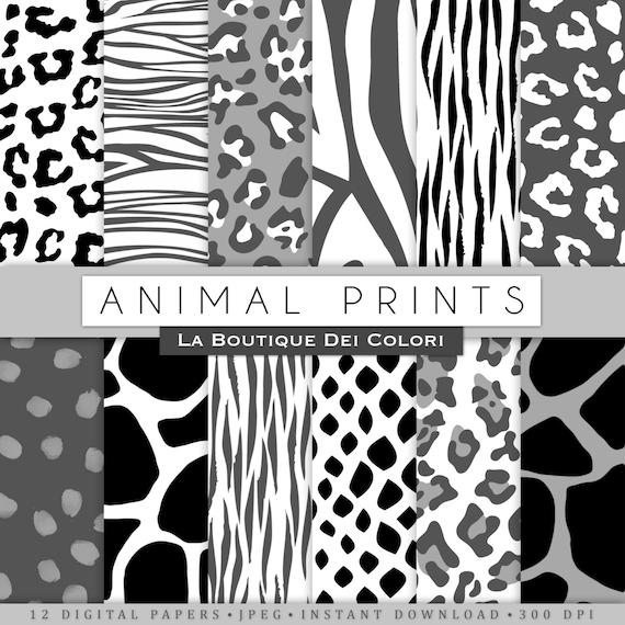 Black And White Animal Prints Digital Paper Safari Scrapbook Tiger