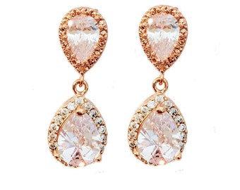 Lucy Halo Luxe Drop Earrings Rose Gold