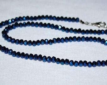 Czech glass beads 4 mm. Beads Czech glass faceted 4 mm. Electric blue Czech glass faceted. Thread blue faceted Czech beads. Rondelle 4 mm.