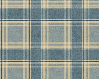 One Yard Olivia - Plaid in Blue - Cotton Quilt Fabric - by Michele D' Amore for Benartex Fabrics - 4633-55 (W2563)