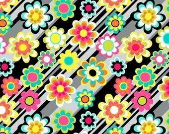 Half Yard Graffiti - Diagonal Floral in Multi - Cotton Quilt Fabric - by Another Point of View for Windham Fabrics - 37402-X (W2654)