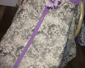 Carseat Cover Gray and Lavander RTS