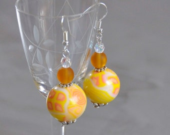 summer yellow graphic round earrings