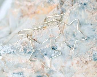 Star drop earrings, sterling silver dangle Earrings jewelry, wire wrap earrings, fun earrings, simple everyday earrings, love gifts