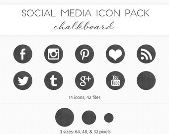Social Media Icon Set, Chalkboard