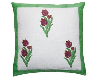 Cushion Cover - BLOCK printed - Red Tulips