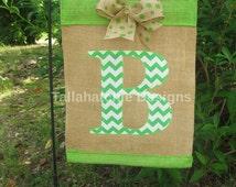 Burlap Chevron Initial Garden Flag* Monogram Applique Garden Flag*Summer Garden Flag*Personalized Garden Flag- Yard Flag