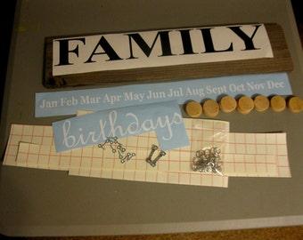 Family Birthday Board Kit -Birthday Calendar DIY Kit-Family Birthday/Celebrations Kit -Family Sign DIY Kit- DIY Gifts-Mother's Day Gift Gift