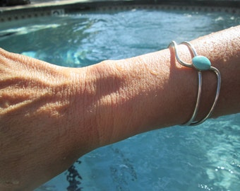 Modern Turquoise and Sterling Cuff Bracelet
