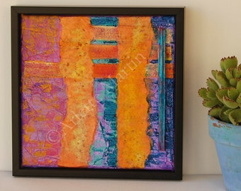 """Abstract painting,Art for home,Original painting, Acrylic Mixed Media, Bright and colorfulWall Art,8""""x8"""",Original Art Work,Modern painting,"""