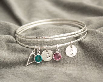 Sterling Argentium Silver Stacking Bangles- Personalized