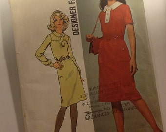 Vintage Simplicity Pattern 9658 from 1971 Size 16 Bust 38 for Knee Length Belted Office Dress